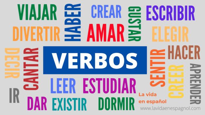 Verbos regulares e irregulares en español.